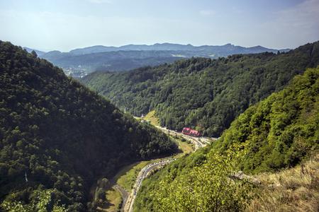transfagarasan: View over Transfagarasan from Poenari Castle Stock Photo