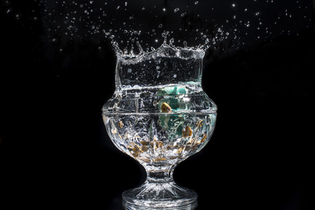 crystal glass: Splash in a crystal glass