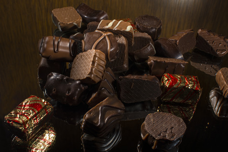 flavours: Chocolate  candies in different shapes and flavours Stock Photo
