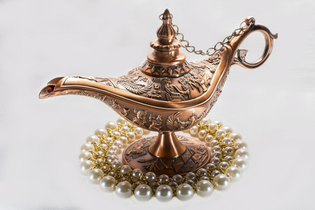 three wishes: Aladdins lamp and pearl necklace