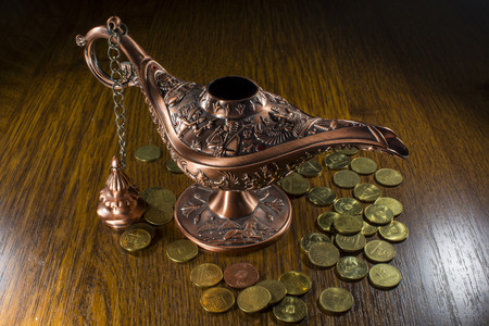 three wishes: Aladdins lamp and coins