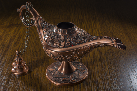 three wishes: Aladdins lamp Stock Photo