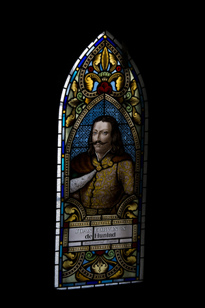 Iancu  de Hundeoara , portrait on vitrage window at Corvin's Castle , Romania Stock Photo