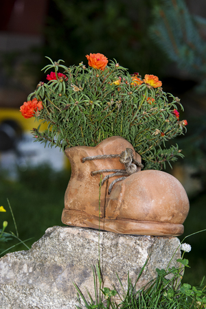 Ceramic boot used as flower pot