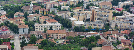 Aerial view of the city of Deva from fortress build in 1250 Stock Photo - 77359986