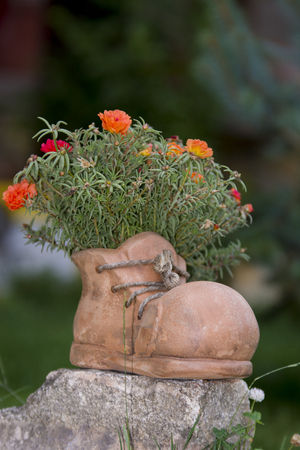 showpiece: Ceramic boot used as flower pot