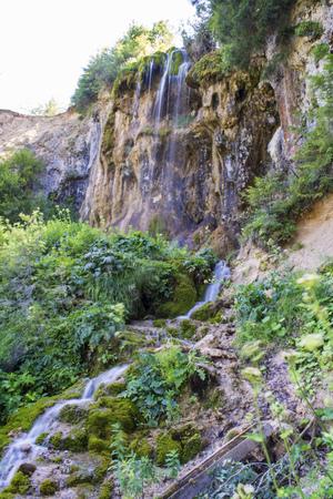 spiritual energy: Waterfall on mountain river in Carpathian Mountains , Romania Stock Photo