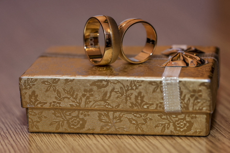 Wedding rings isolated on jelewry box Stock Photo