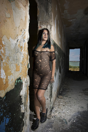 Young girl posing in a black fishnet dress Stok Fotoğraf