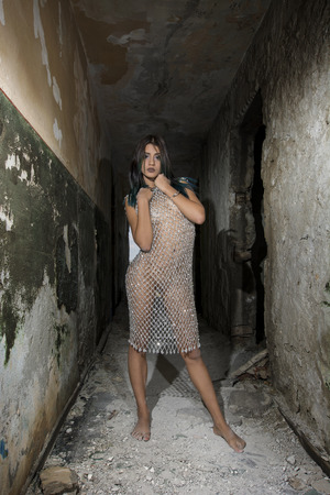 21c22f1e9c3 Young girl posing in a silver fishnet dress Stock Photo