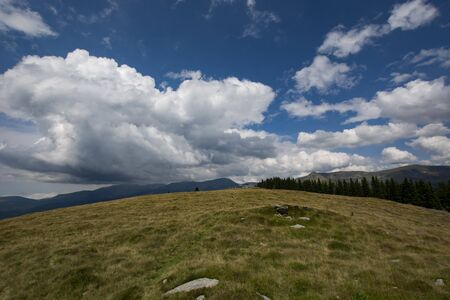 Panoramic view over Carpathian Mountains, Romania during summer time