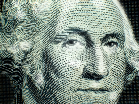 us currency: Macro close-up of George Washington on USA One Dollar Bill Federal Reserve Note