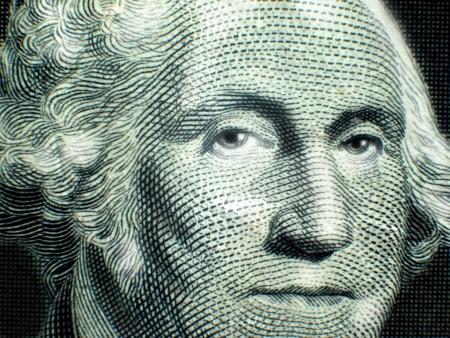 george washington: Primer plano macro de George Washington en el billete de un dólar EE.UU. Nota de la Reserva Federal