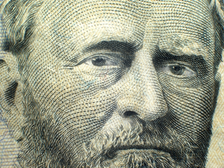 us currency: Macro close-up of Grant on USA Fifty Dollar Bill Federal Reserve Note
