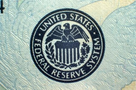 federal reserve: Macro close-up of Federal Reserve logo on USA Federal Reserve Note