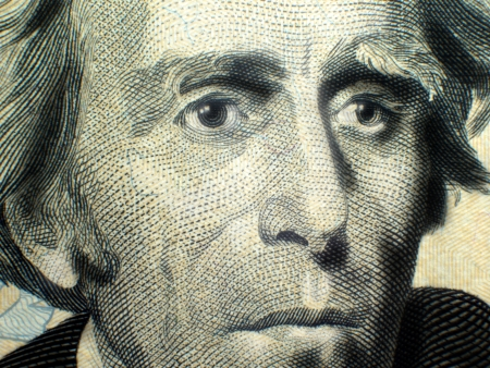 us currency: Macro close-up of Andrew Jackson on USA Twenty Dollar Bill Federal Reserve Note