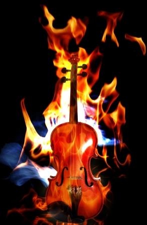 violins: Violin in flames on black background