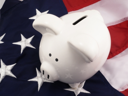 Government Concept  Government Savings And Budget With Piggy Bank Over American Flag
