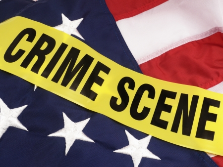 News Concept   Political  Crime In America Crime Scene Tape Over American Flag Stock Photo - 14758462