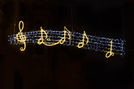 glowing sign of musical notes