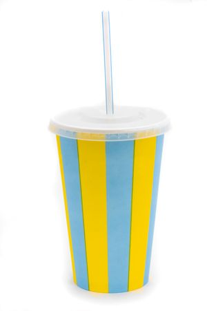 stripy drinks cup with staw on a white background Stock Photo