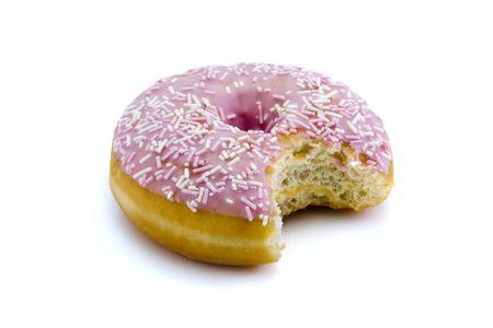 doughnut: strawberry flavoured doughnut witha bite taken out isolated on white