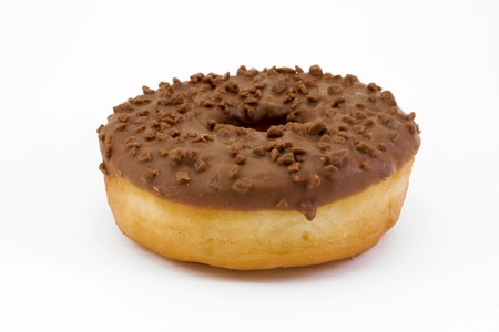 chocolate covered doughnut isolated on white