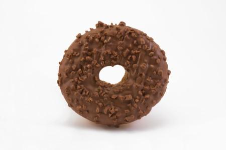 chocolate covered doughnut isolated on white Stock Photo - 6906944