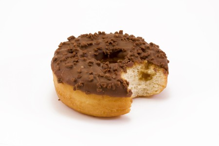 chocolate covered doughnut with a bite taken out over white Stock Photo - 6907921