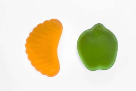 fruit jelly sweets isolated on a white background