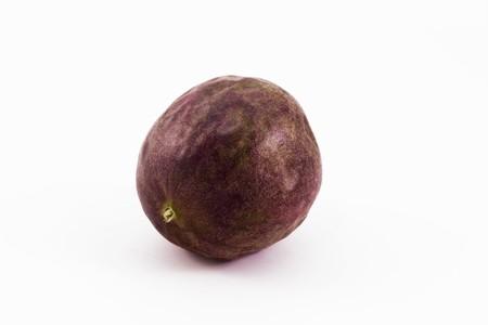 single passion fruit isolatd on a white background Stock Photo