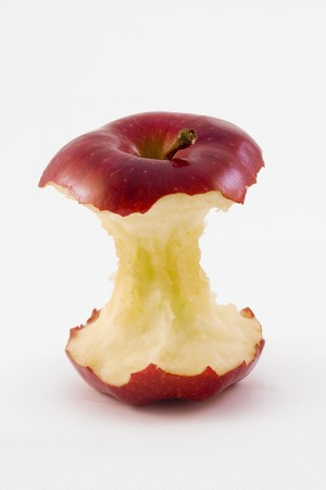eaten: red apple core isolated on a white background Stock Photo