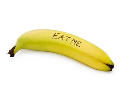 eat me banana on a white background Stock Photo - 6992783