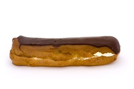 single chocolate eclair on a white background Stock Photo - 7011254