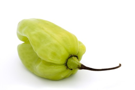 green scotch bonnet chillli pepper over white