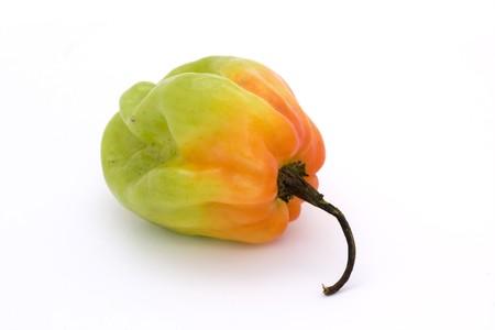 orange and green scotch bonnet chillli pepper over white