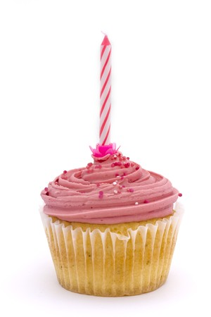 pink cupcake with candle over white