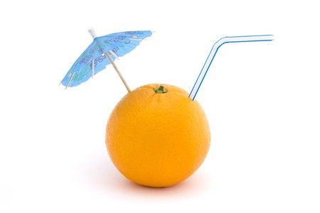 orange with straw and blue umbrella on a white background Stock Photo