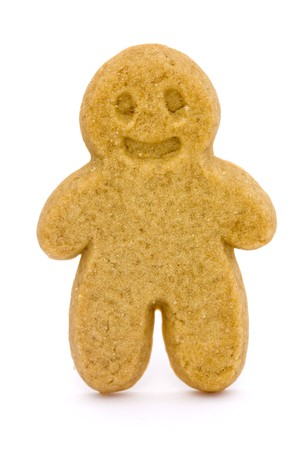 single gingerbread man on a white background