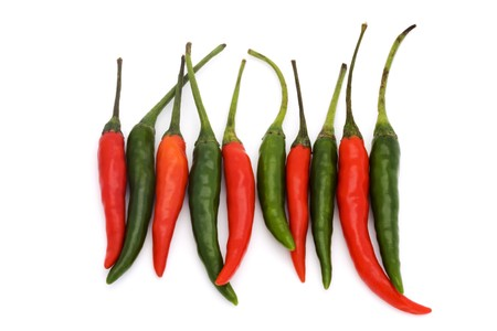 line of green and red chillies on a white background Stock Photo - 7042990