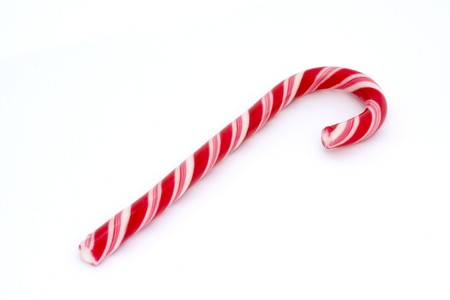 pink stripy candy cane isolated on a white background