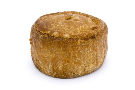 small pork pie isolated on a white background