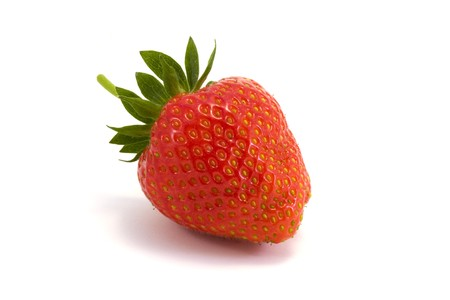 single strawberry on a white background