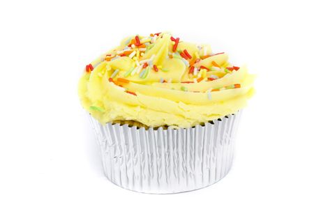 yellow cupcake on a white background