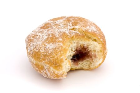 jam doughnut with a bite missing on a white background