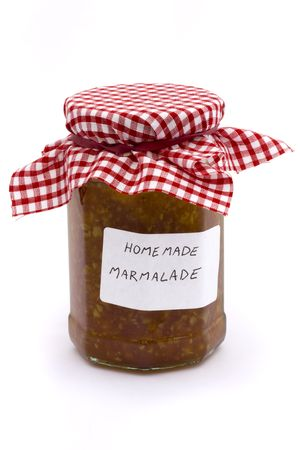 jar of homemade marmalade on a white background Stock Photo