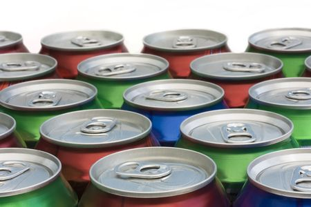background of closed drinks can tops