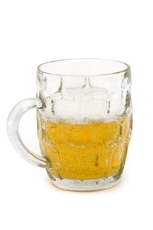 half full glass beer tankard on a white background  Stock Photo