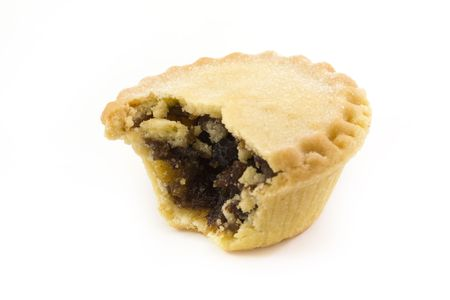 mince pie: single mince pie with a missing bite Stock Photo