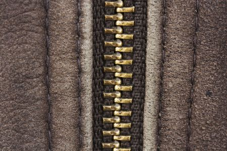 macro of brown leather with zip photo